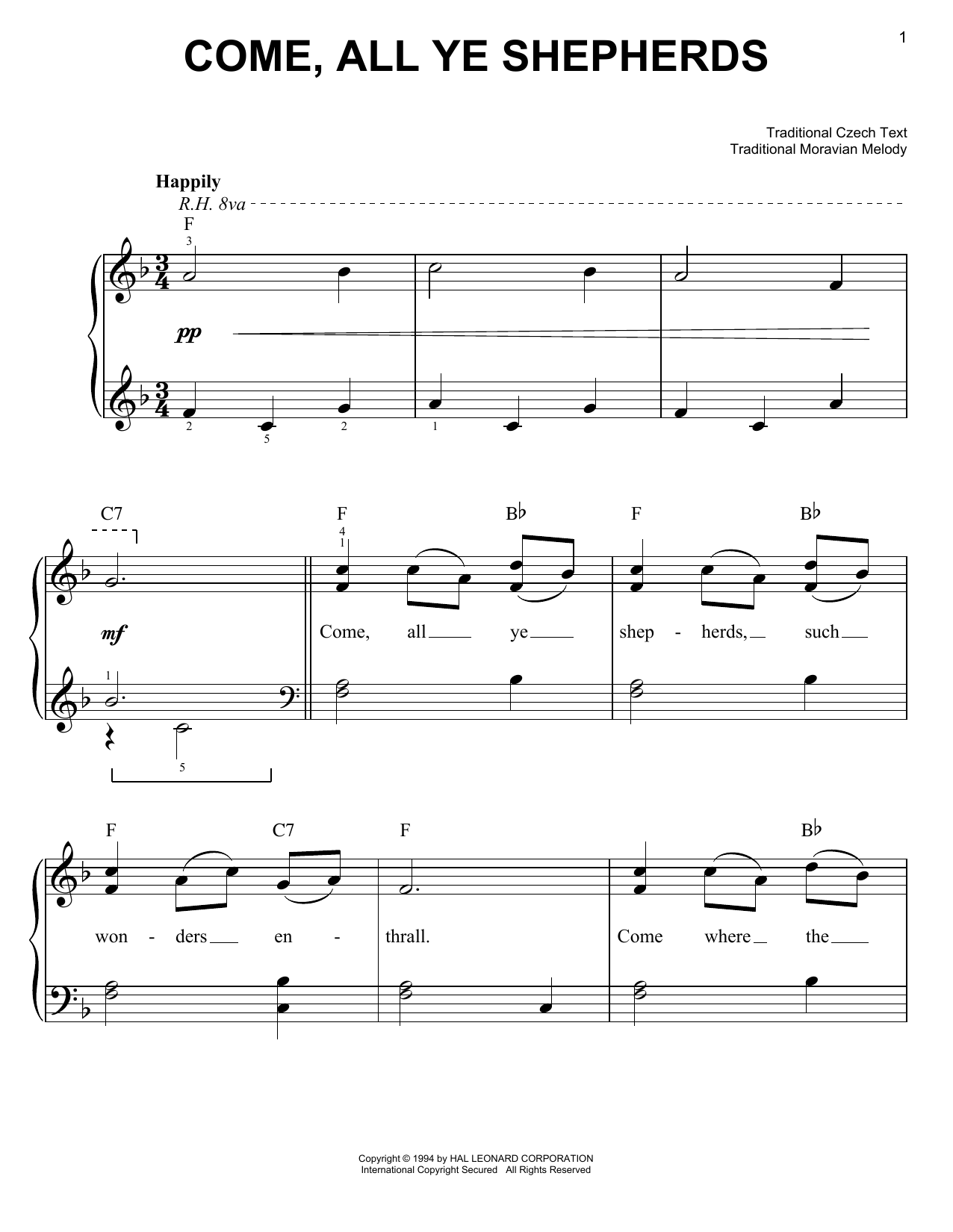 Come, All Ye Shepherds sheet music for piano solo (chords)