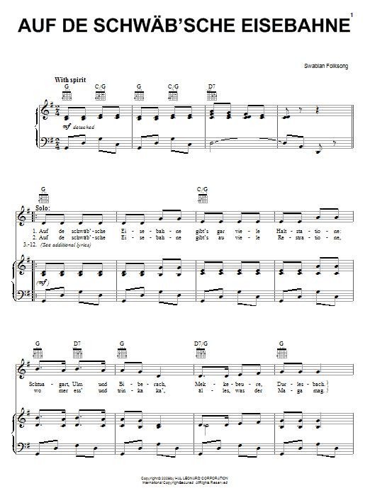 Auf De Schwab'sche Eisebahne sheet music for voice, piano or guitar