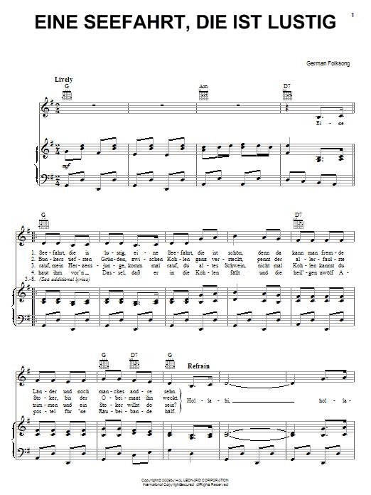 Partition piano Eine Seefahrt, Die Ist Lustig de German Folksong - Piano Voix Guitare (Mélodie Main Droite)