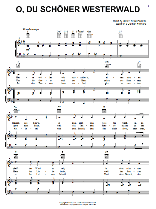 Partition piano O, Du Schoner Westerwald de Josef Neuhauser - Piano Voix Guitare (Mélodie Main Droite)