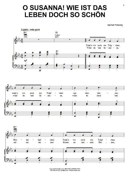 Partition piano O Susanna! Wie Ist Das Leben So Schon de German Folksong - Piano Voix Guitare (Mélodie Main Droite)