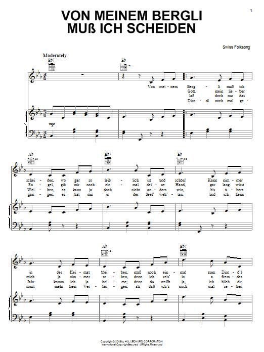 Partition piano Von Meinem Bergli Muss Ich Scheiden de Swiss Folksong - Piano Voix Guitare (Mélodie Main Droite)