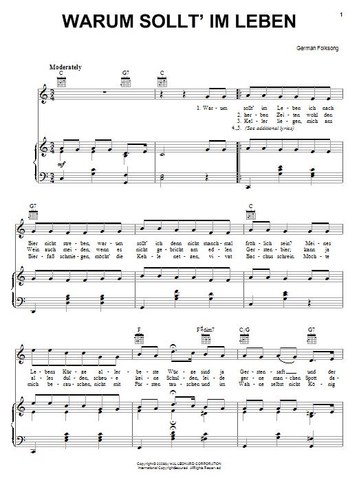 Partition piano Warum Sollt' Im Leben de German Folksong - Piano Voix Guitare (Mélodie Main Droite)