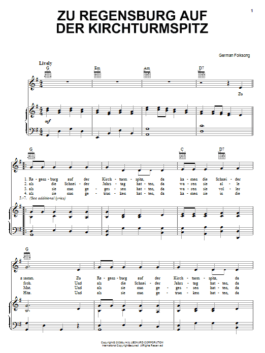 Zu Regensburg Auf Der Kirchturmspitz sheet music for voice, piano or guitar