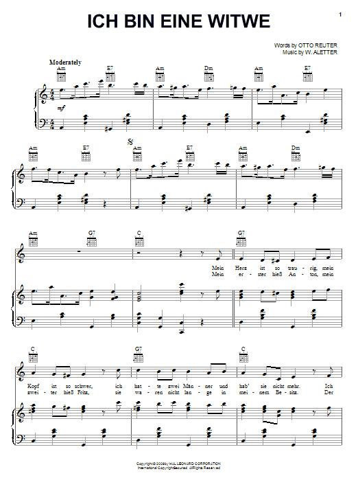 Ich Bin Eine Witwe sheet music for voice, piano or guitar by Otto Reuter