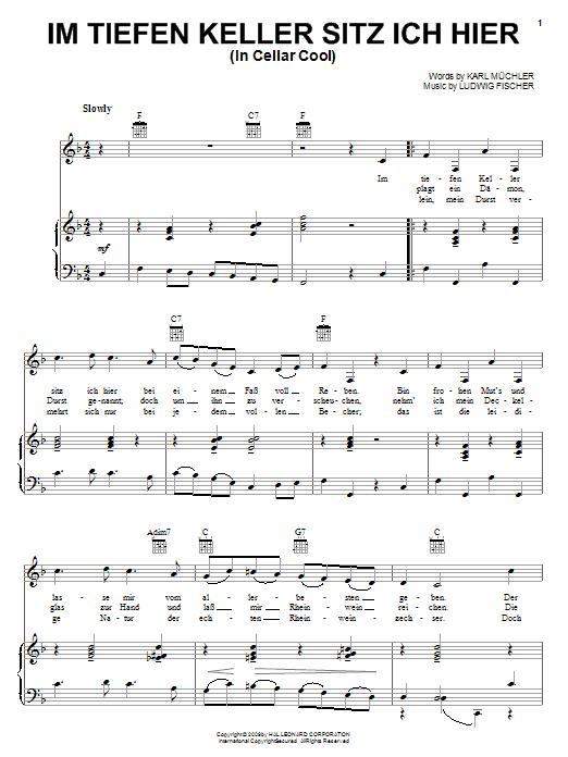 Partition piano Im Tiefen Keller Sitz Ich Hier (In Cellar Cool) de Karl Muchler - Piano Voix Guitare (Mélodie Main Droite)