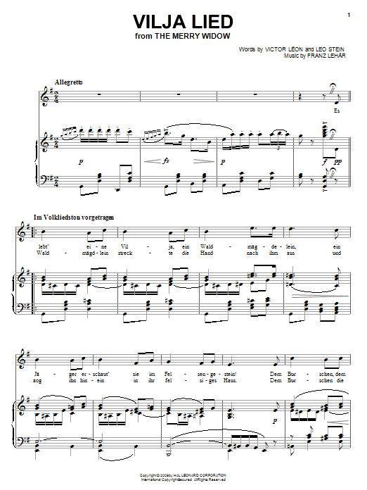 Partition piano Vilja Lied de Franz Lehar - Piano Voix Guitare (Mélodie Main Droite)