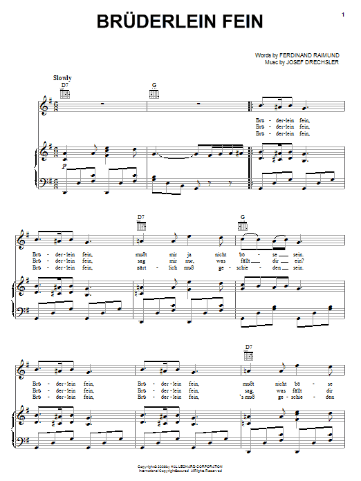 Partition piano Bruderlein Fein de Ferdinand Raimund - Piano Voix Guitare (Mélodie Main Droite)