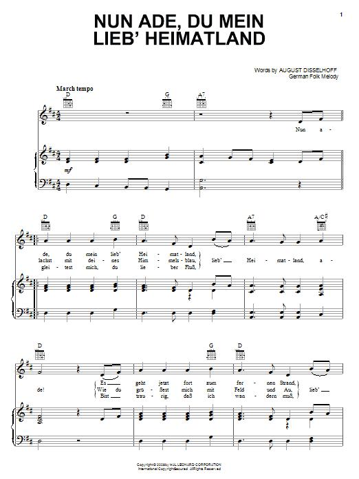 Partition piano Nun Ade, Du Mein Lieb' Heimatlan de August Disselhoff - Piano Voix Guitare (Mélodie Main Droite)
