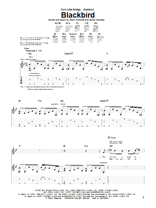 Tablature guitare Blackbird de Alter Bridge - Tablature Guitare