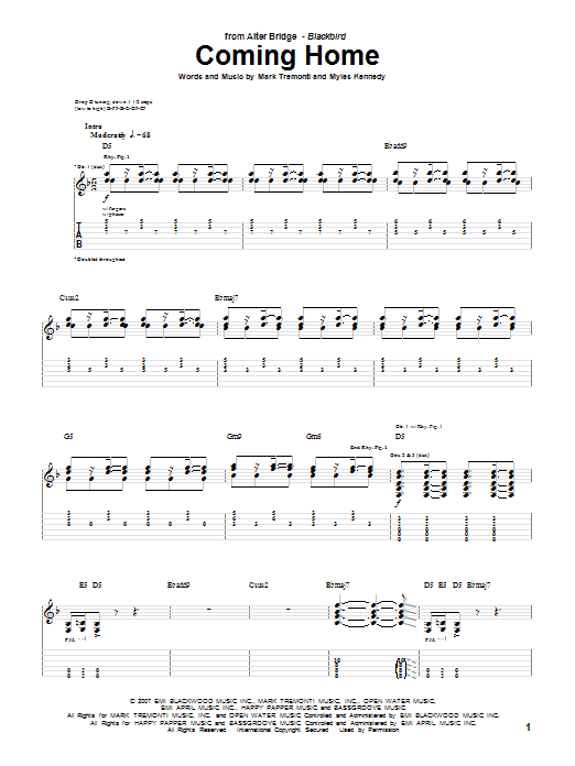 Coming Home sheet music for guitar solo (tablature) by Myles Kennedy