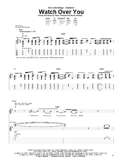 Tablature guitare Watch Over You de Alter Bridge - Tablature Guitare