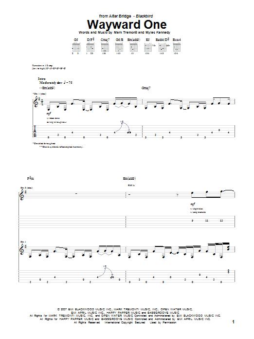Tablature guitare Wayward One de Alter Bridge - Tablature Guitare
