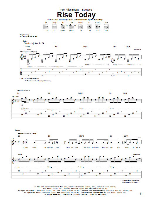 Tablature guitare Rise Today de Alter Bridge - Tablature Guitare