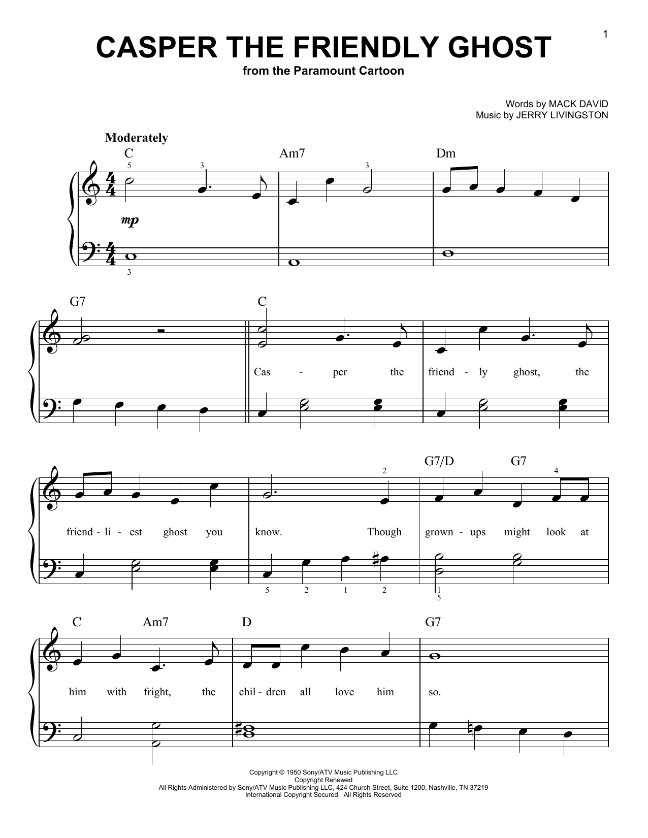 Casper The Friendly Ghost sheet music for piano solo (chords) by Mack David