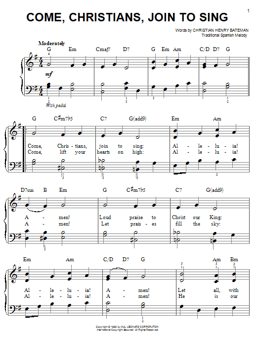 Partition piano Come, Christians, Join To Sing de Christian Henry Bateman - Piano Facile
