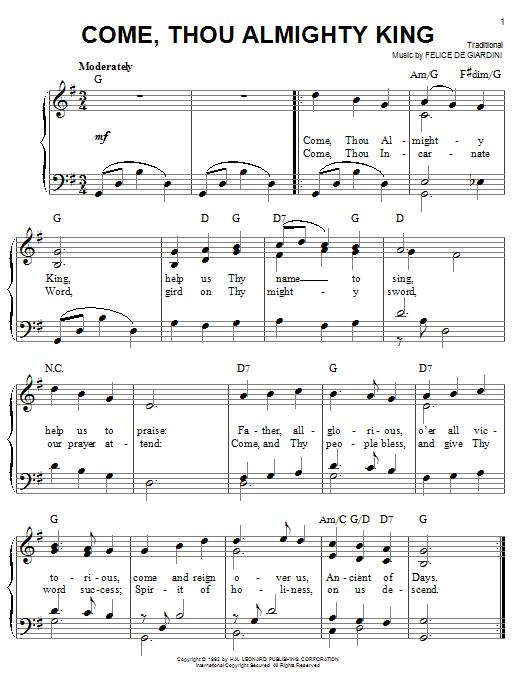 Partition piano Come, Thou Almighty King de Felice de Giardini - Piano Facile