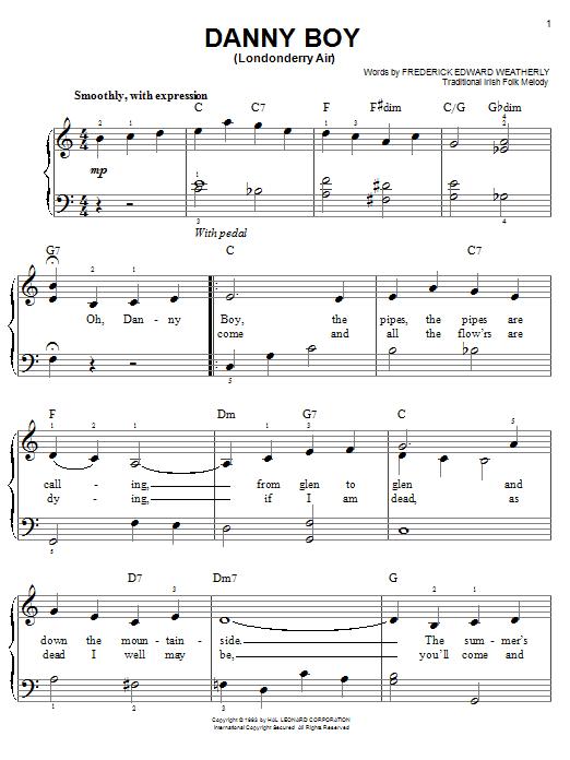 Partition piano Danny Boy de Frederick Edward Weatherly - Piano Facile