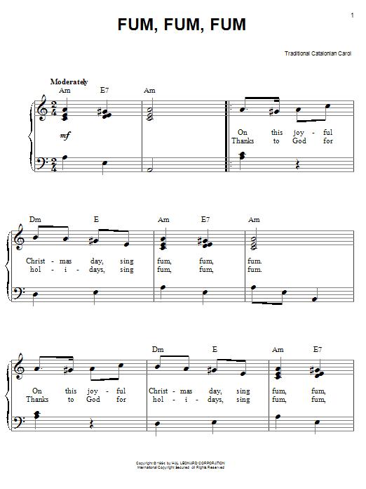 Partition piano Fum, Fum, Fum de Traditional Catalonian Carol - Piano Facile