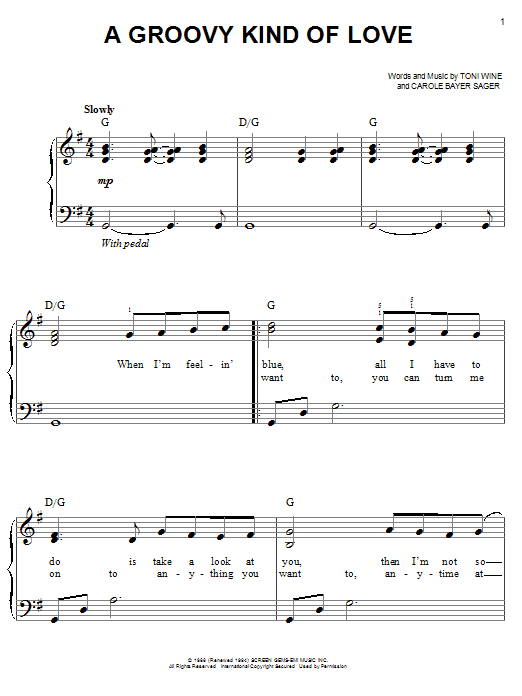 A Groovy Kind Of Love sheet music for piano solo (chords) by Toni Wine