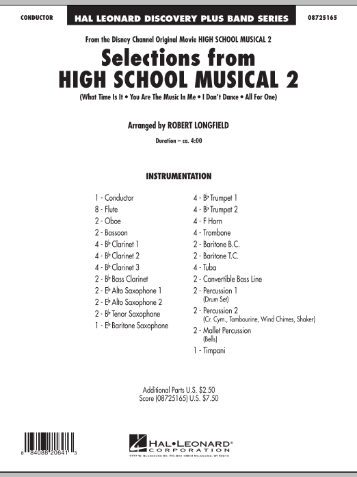 Selections from High School Musical 2 (COMPLETE) sheet music for concert band by Robert Longfield