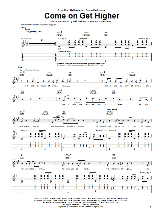 Tablature guitare Come On Get Higher de Matt Nathanson - Tablature Guitare