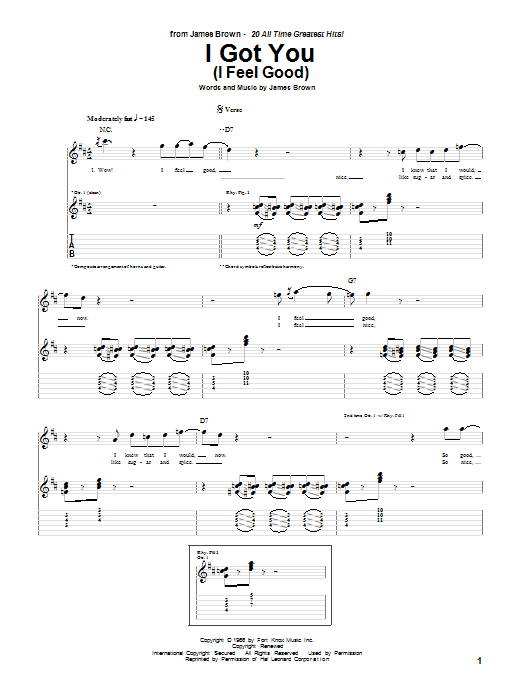 Tablature guitare I Got You (I Feel Good) de James Brown - Tablature Guitare