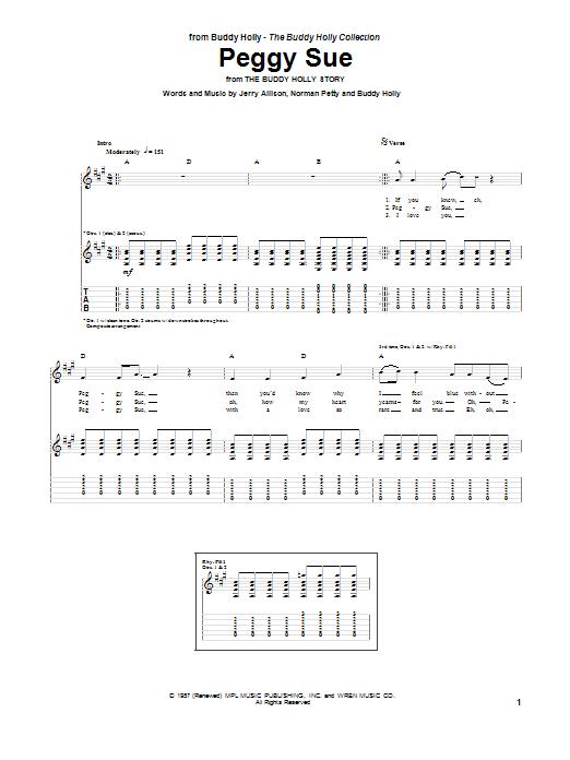 Tablature guitare Peggy Sue de Buddy Holly - Tablature Guitare