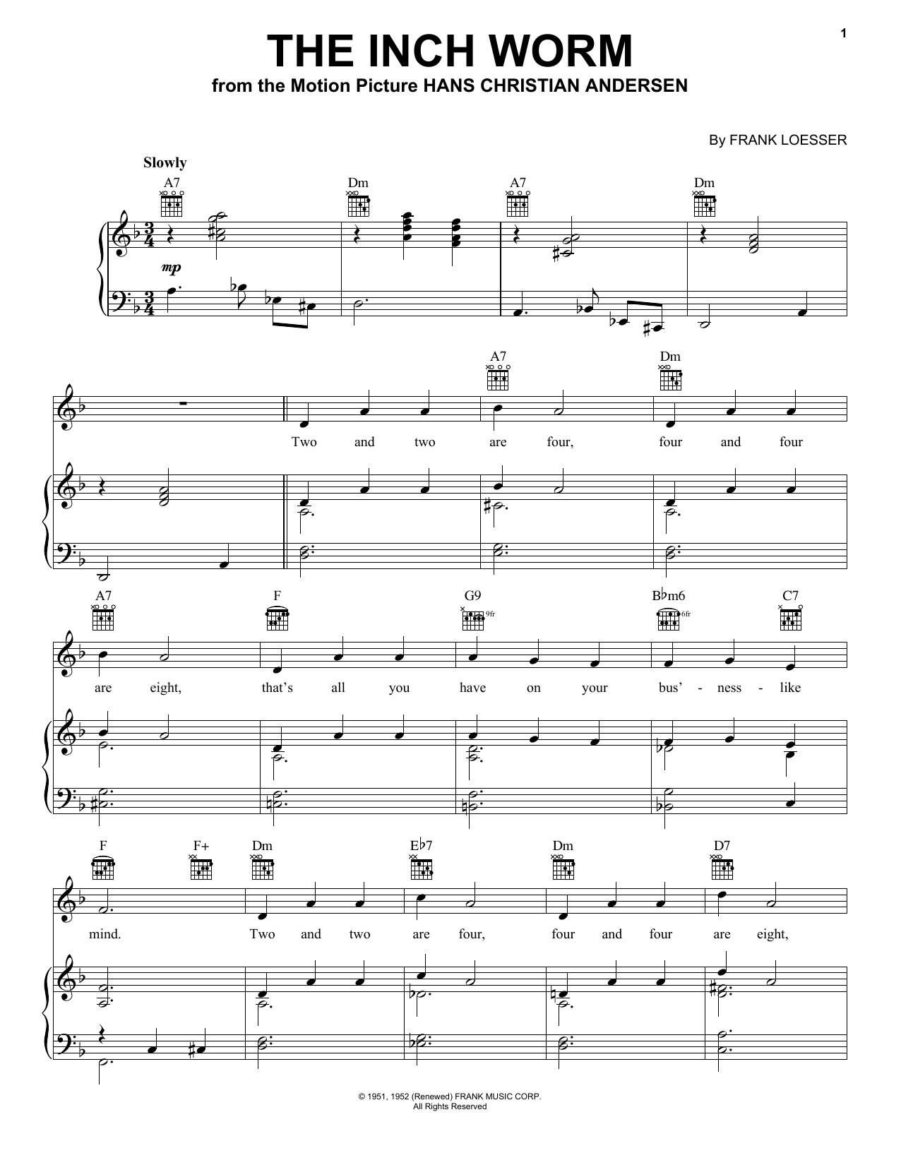Partition piano The Inch Worm de Frank Loesser - Piano Voix Guitare (Mélodie Main Droite)