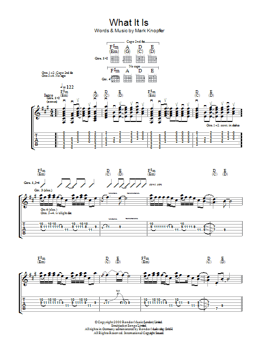 What It Is sheet music for guitar solo (tablature) by Mark Knopfler
