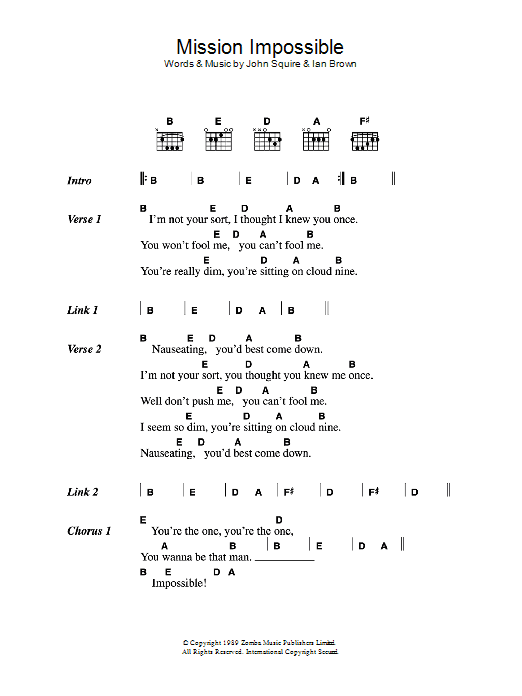 Mission Impossible by The Stone Roses - Guitar Chords/Lyrics - Guitar Instructor