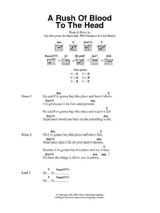 A Rush Of Blood To The Head sheet music for guitar solo (chords, lyrics, melody) by Chris Martin