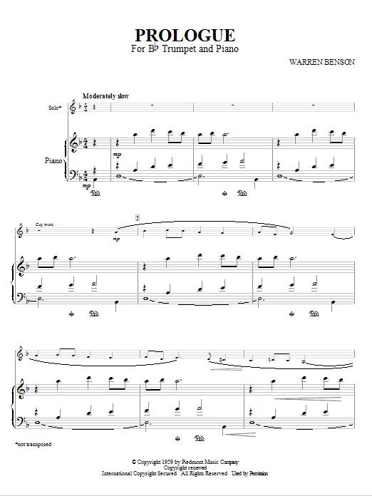 Partition autre Prologue For Bb Trumpet And Piano de Warren Benson - Trompette