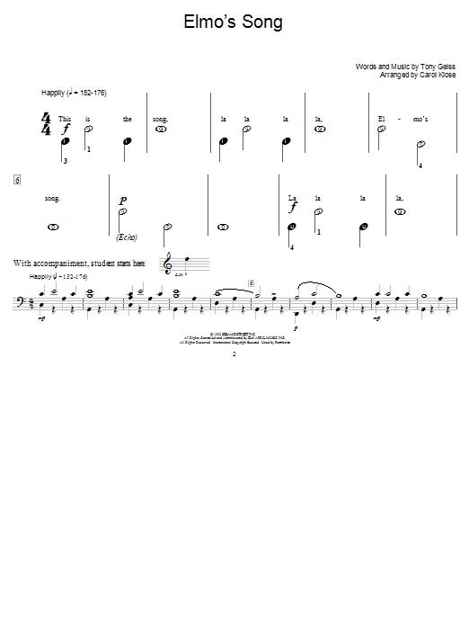 Partition piano Elmo's Song de Tony Geiss - Piano Facile