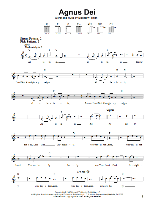 Agnus Dei sheet music for guitar solo (chords) by Michael W. Smith