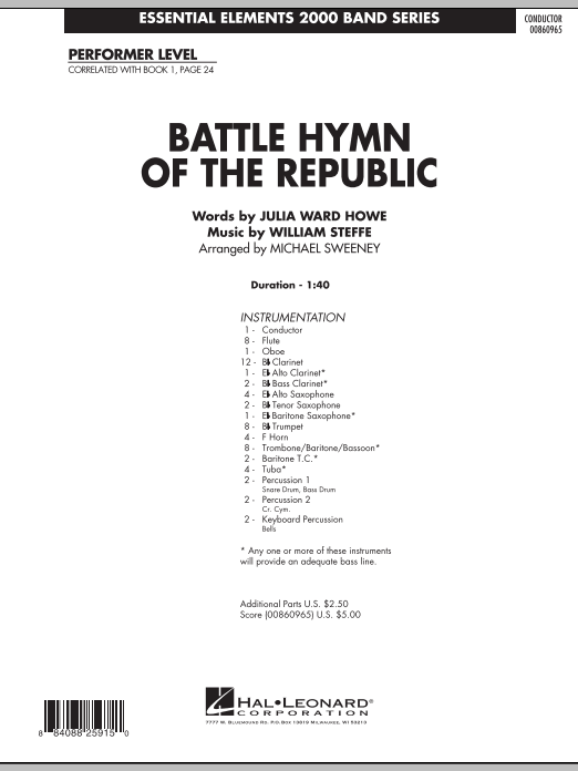 Battle Hymn of the Republic (COMPLETE) sheet music for concert band by Michael Sweeney