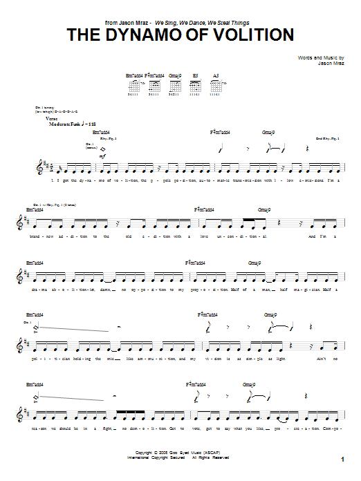 Tablature guitare The Dynamo Of Volition de Jason Mraz - Tablature Guitare