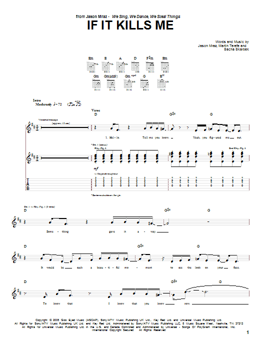 If It Kills Me sheet music for guitar solo (tablature) by Sacha Skarbek