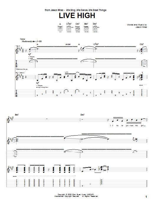 Tablature guitare Live High de Jason Mraz - Tablature Guitare