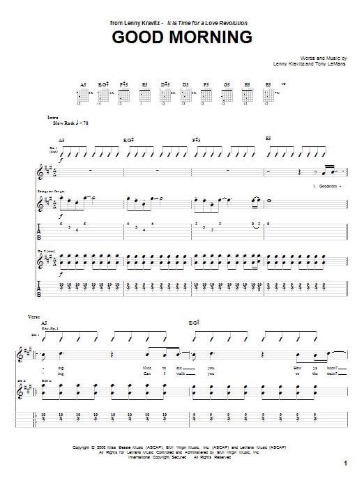 Tablature guitare Good Morning de Lenny Kravitz - Tablature Guitare
