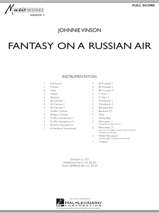 Fantasy on a Russian Air sheet music for concert band (full score) by Johnnie Vinson