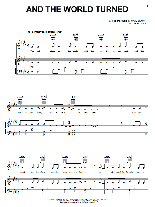 And The World Turned sheet music for voice, piano or guitar by Tia Sillers