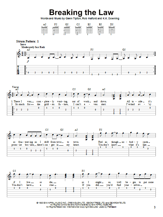 Breaking The Law sheet music for guitar solo (easy tablature) by Rob Halford
