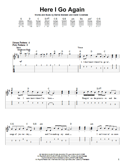 Here I Go Again sheet music for guitar solo (easy tablature) by David Coverdale