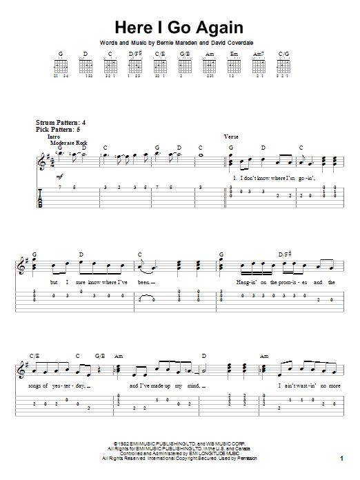 Here I Go Again | Sheet Music Direct
