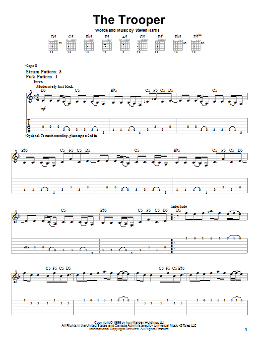 The Trooper sheet music for guitar solo (easy tablature) by Steve Harris