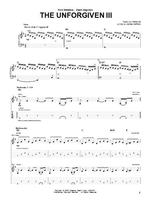 Tablature guitare The Unforgiven III de Metallica - Tablature Guitare
