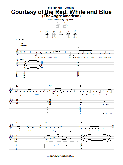 Courtesy Of The Red, White And Blue (The Angry American) sheet music for guitar solo (tablature) by Toby Keith