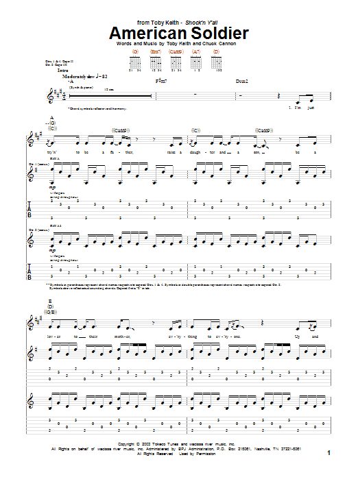 Tablature guitare American Soldier de Toby Keith - Tablature Guitare
