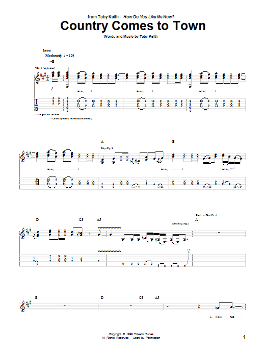 Country Comes To Town sheet music for guitar solo (tablature) by Toby Keith